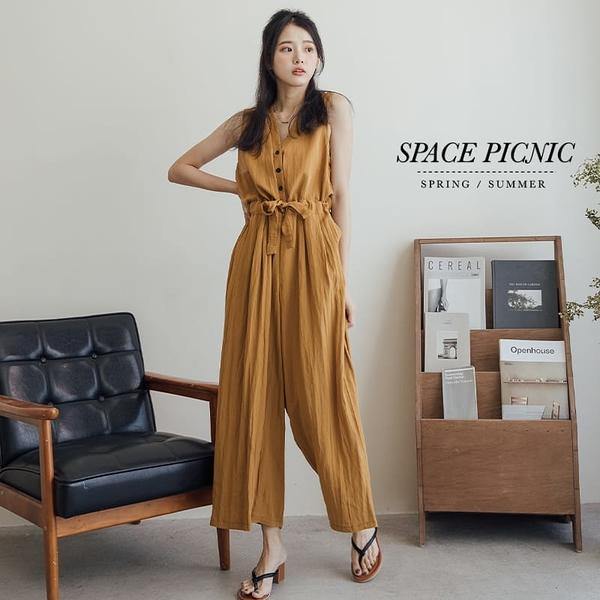 連身褲 Space Picnic|素面棉麻背心連身直筒褲(預購)【C21052060】