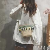 草編小包包仙女夏天森繫流蘇編織水桶包側背斜背沙灘包潮 春季上新