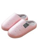 買一送一防水棉拖鞋女冬季保暖厚底室內居家用冬天家居男士皮拖鞋
