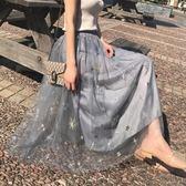 蕾絲刺繡網紗裙半身裙女春夏紗裙仙女a字裙中長款公主裙2018新款