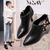 法式高跟鞋女2020年春秋款新款百搭網紅年會細跟尖頭短靴深口單鞋 蘿莉小腳丫