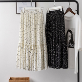 百褶裙(長裙)-可愛點點印花高腰女裙子2色73xg8[時尚巴黎]