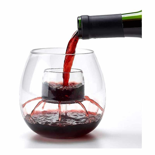 Chevalier Collection 防裂充氣玻璃酒杯 2入 不含BPA 專利醒酒器 [2美國直購]