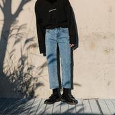 西西里男裝ins藍色牛仔褲男韓版寬鬆九分直筒褲男生港風chic褲子
