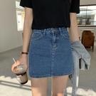 牛仔裙網紅ins韓版基礎款高腰半身裙女學生顯瘦百搭包臀牛仔A字短裙子 快速出錯