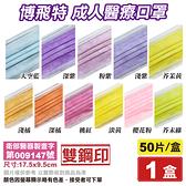 博飛特 雙鋼印 成人醫療口罩 (多色任選) 50入/盒 (台灣製造 CNS14774) 專品藥局