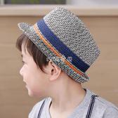 兒童帽子  男童草帽兒童遮陽帽紳士禮帽 寶寶太陽帽子 珍妮寶貝