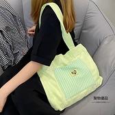 救星星小眾綠色托特包大容量女日系帆布單肩斜挎包【聚物優品】