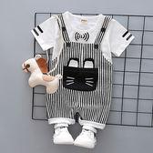 男寶寶嬰兒夏季背帶褲套裝小童夏天短袖1歲半 春生雜貨