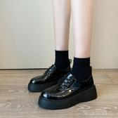 小皮鞋小皮鞋女英倫風 春季新款網紅百搭ins復古繫帶厚底鬆糕單鞋女  全館免運