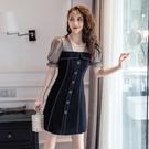 網紗洋裝 赫本風復古小黑裙夏季法式氣質網紗波點拼接顯瘦連身裙女-Ballet朵朵