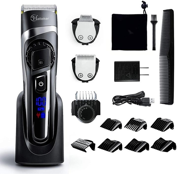 【日本代購】HATTEKER Varican可充電 理髮器 剪髮器可水洗 高度可調 0.5-24mm商用家用兒童 黑色
