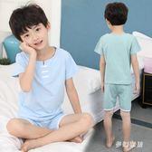 2019新款韓版兒童睡衣夏季薄款空調家居休閒睡衣 QW3892『夢幻家居』