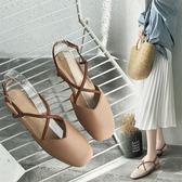 涼鞋女仙女風羅馬夏季超火一字帶學生網紅粗跟包頭奶奶鞋【東京衣秀】