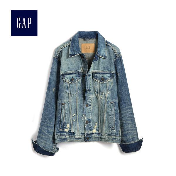 Gap男裝 時尚舒適牛仔長袖夾克 496527-復古破洞