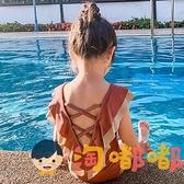 兒童泳衣女童連體速干露背可愛公主寶寶度假游泳衣【淘嘟嘟】
