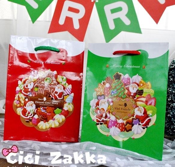 日本訂製款聖誕小紙袋 亮面甜品袋 禮盒袋【X023】 購物袋 手提袋 蛋糕袋 包裝袋 時尚袋 交換禮物