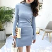 半身洋裝針織洋裝女秋冬裝新款氣質復古半高領亮絲包臀打底裙中長款毛衣(快速出貨)
