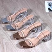 網紅超火粗跟一字帶透明涼拖鞋女外穿夏新款百搭水晶跟果凍鞋 亞斯藍