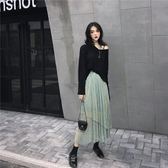 春夏上新T恤春季時尚百搭韓版寬鬆長袖T恤 溫柔不規則中長款半身裙女兩件套潮