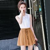 鬆緊腰雪紡短褲女夏時尚 新款高腰寬鬆顯瘦寬管褲裙a字沙灘褲 薔薇時尚