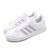 adidas 休閒鞋 Grand Court 白 紫 女鞋 運動鞋 皮革鞋面 【ACS】 EE7465