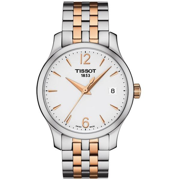 ◆TISSOT◆ Tradition 經典大三針薄型機械腕錶女生款T063.210.22.037.01 雙色