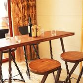 聖誕交換禮物-吧臺桌家用靠墻吧臺桌實木高腳椅水吧長條桌美式客廳咖啡店餐桌TZGZ