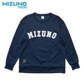 MIZUNO SPORTS STYLE 男裝 上衣 長袖 T恤 1906 大學T 棉質 靛藍【運動世界】D2TA952513