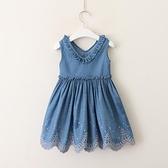童裝2021夏裝新款V領木耳邊牛仔洋裝女童繡花裙擺背心裙歐美風 幸福第一站