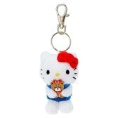 〔小禮堂〕Hello Kitty 迷你絨毛玩偶娃娃鑰匙圈《紅白.抱熊》吊飾.掛飾.鎖圈 4901610-63542