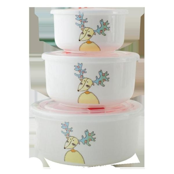 保鮮碗三件套陶瓷保鮮盒泡面碗帶蓋飯盒卡通飯碗骨瓷微波爐便當盒WY【限時八折低價沖量】