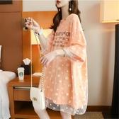 洋裝 孕婦裝夏裝新款時尚網紗拼接短袖中長款洋裝寬鬆孕婦上衣套裝【免運快出】
