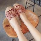 夾腳拖鞋粗跟厚底夏季涼拖鞋粗跟女外穿高跟潮人字拖蝴蝶結防滑羅馬厚底海邊度假沙