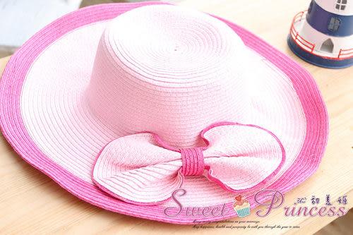 泳衣配件  雙色蝴蝶編織帽 - 盛夏出遊必備小物(粉)  -沁甜美姬