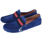 GUCCI Driver 條紋織帶麂皮豆豆樂福鞋(藍色) 1440245-34