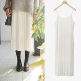 洋裝 2017秋冬新款韓國高腰打底吊帶百褶長裙連身裙