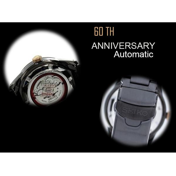 [萬年鐘錶]  SEIKO 5號盾牌 60週年限定版 機械錶 IP黑電鍍 錶背鏤空42mm  4R37-01G0K(SSA317J1)