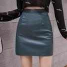 半身裙皮裙 包臀裙~半身皮裙女高腰顯瘦A字小皮裙氣質時尚短裙包臀裙子BMA146C1日韓屋