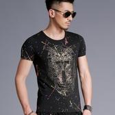 短袖T恤男 韓版潮流 休閒上衣 夏季歐美風個性骷顱頭3D印花短袖T恤修身圓領wx3373