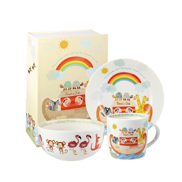 英國Churchill Queens兒童精瓷3件餐具組(諾亞方舟-附原裝彩盒)