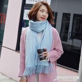 大紅色圍巾女冬季韓版百搭仿羊絨保暖女士長款圍脖厚披肩兩用學生 時尚芭莎