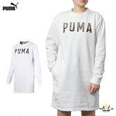 Puma 女款 白 長版上衣 連身裙 長袖 上衣 運動風 刷毛 運動 健身 休閒 85186802