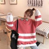 cec紅色衛衣慵懶風加絨加厚套頭2019新款女裝寬松學生潮新年衣服 樂芙美鞋