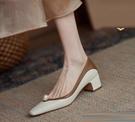 樂福鞋 單鞋女2021年春夏新款百搭氣質高跟鞋小皮鞋小香風尖頭粗跟樂福鞋 伊蘿