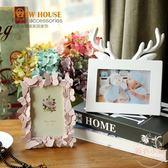 粉色蝴蝶飛揚樹脂藝術相框擺件生日禮物裝飾 【販衣小築】