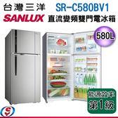 【新莊信源】580公升 台灣三洋SUNLUX直流變頻冰箱雙門電冰箱 SR-C580BV1
