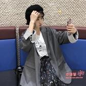 西裝外套 秋裝韓版簡約寬鬆休閒西裝外套女2020款網紅chic中長款黑色小西服 2色