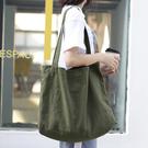 帆布單肩包-復古簡約輕便大容量女手提包4...