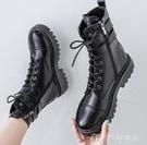 馬丁靴夏秋季新款英倫風透氣馬丁靴女時尚百搭中筒靴子厚底機車短靴 快速出貨